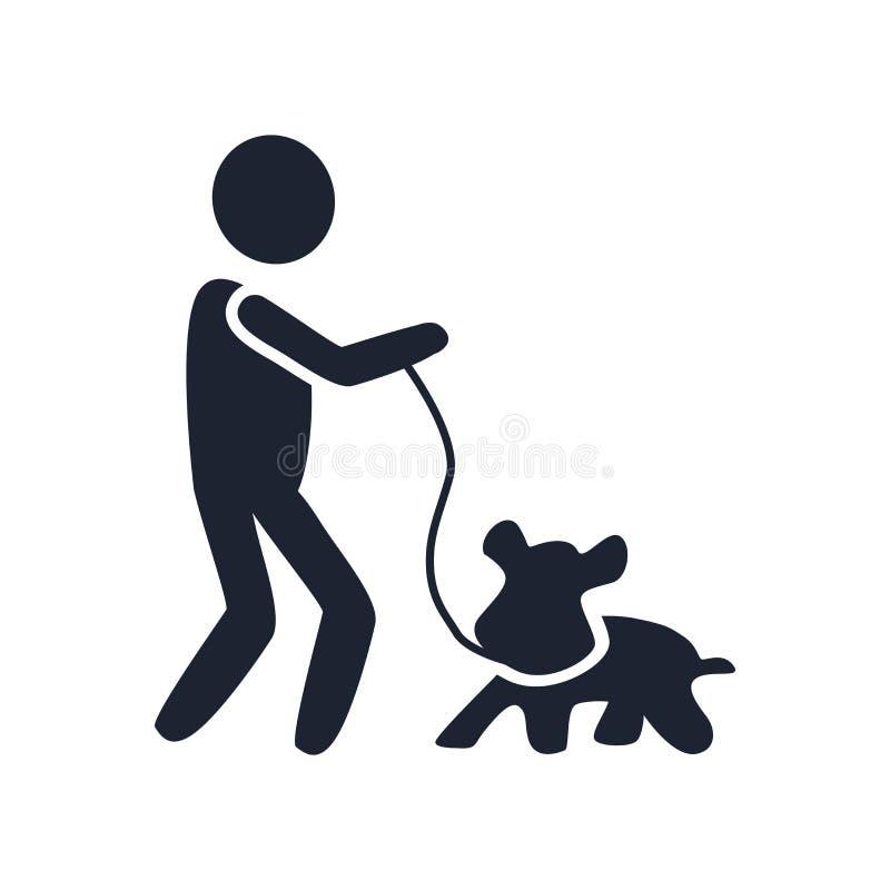 Segno e simbolo di vettore dell'icona del cane e dell'uomo isolati su backgr bianco illustrazione vettoriale