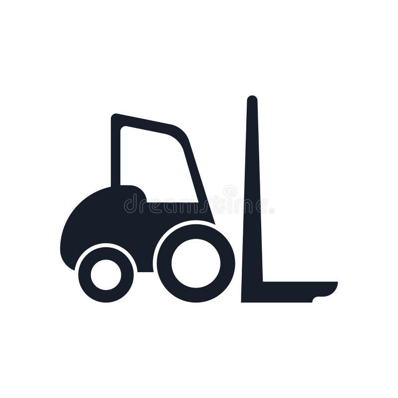 Segno e simbolo di vettore dell'icona del carrello elevatore isolati su fondo bianco, concetto di logo del carrello elevatore illustrazione vettoriale