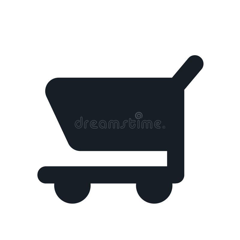 Segno e simbolo di vettore dell'icona del carrello isolati su fondo bianco, concetto di logo del carrello illustrazione di stock