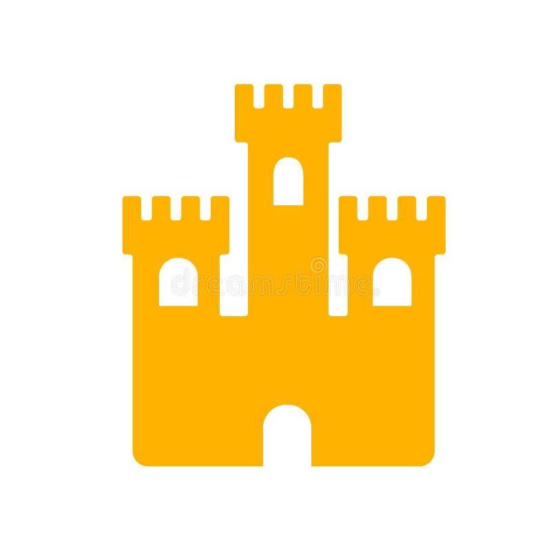 Segno e simbolo di vettore dell'icona del castello della sabbia isolati su fondo bianco, concetto di logo del castello della sabb illustrazione vettoriale