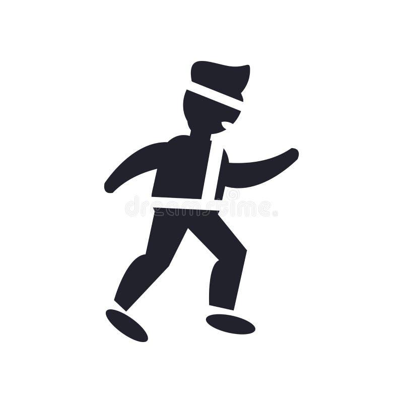 Segno e simbolo di vettore dell'icona del combattente di karatè isolati sul BAC bianco illustrazione di stock