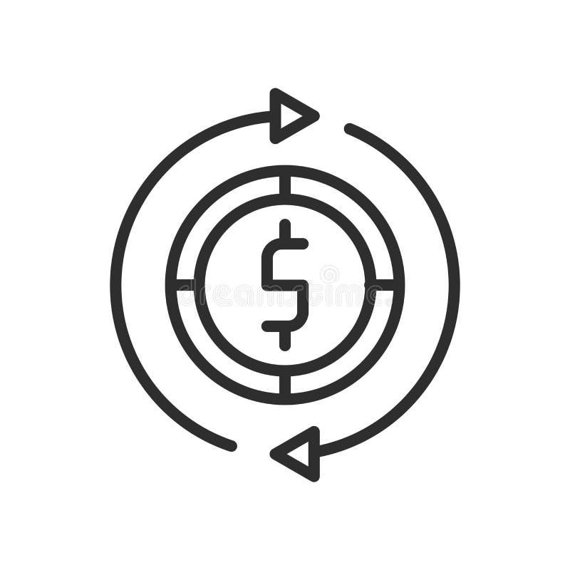 Segno e simbolo di vettore dell'icona del convertito dei soldi isolati sulla parte posteriore di bianco royalty illustrazione gratis