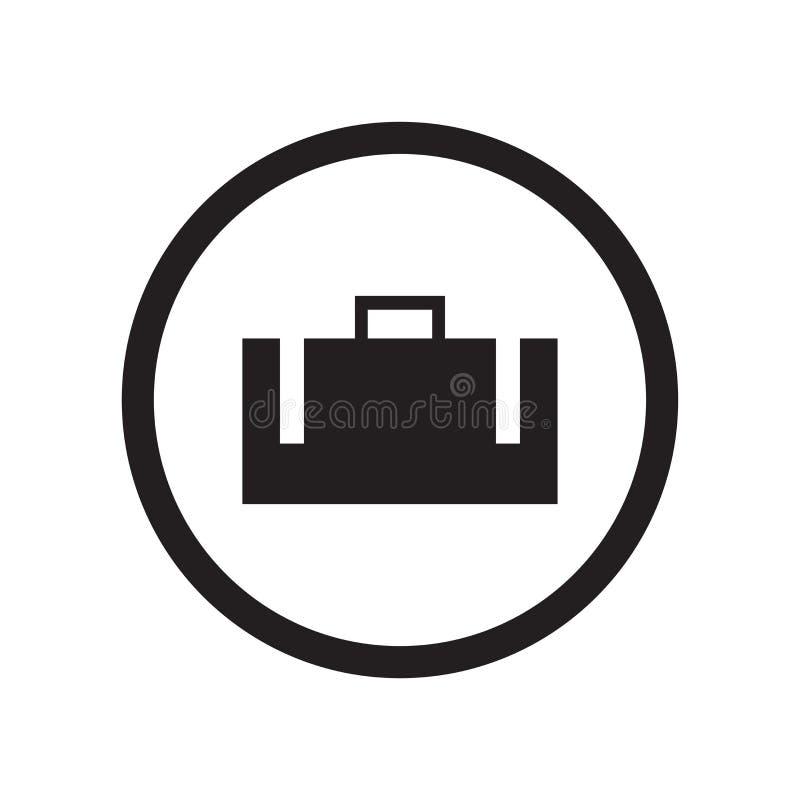 Segno e simbolo di vettore dell'icona del segno della valigia isolati su fondo bianco, concetto di logo del segno della valigia illustrazione di stock