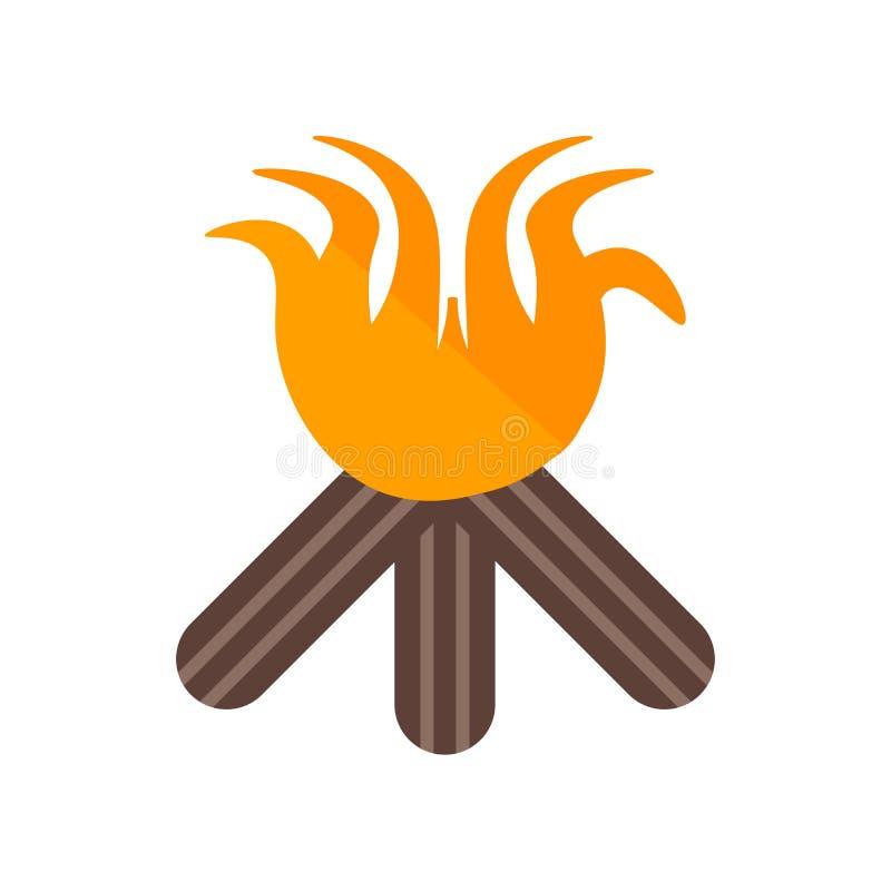 Segno e simbolo di vettore dell'icona del falò isolati su fondo bianco illustrazione di stock
