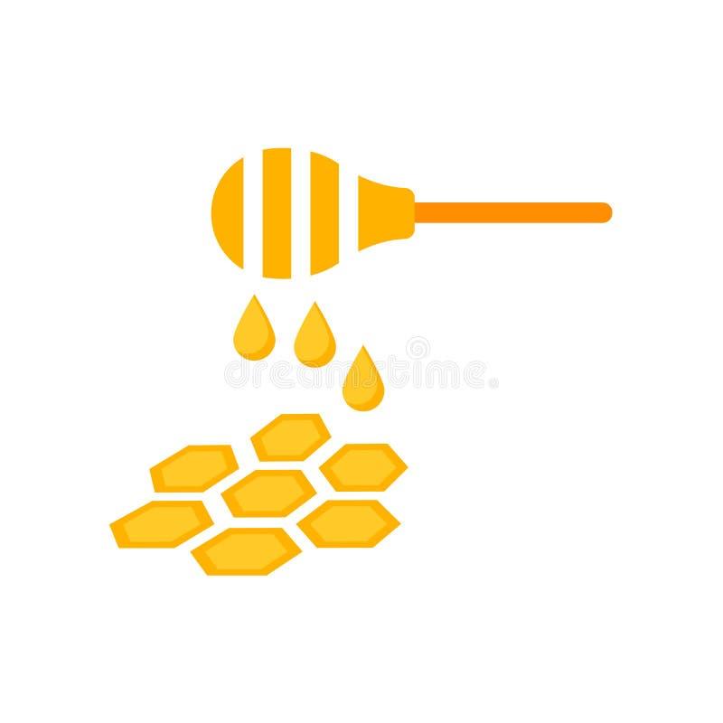 Segno e simbolo di vettore dell'icona del miele isolati su fondo bianco illustrazione di stock