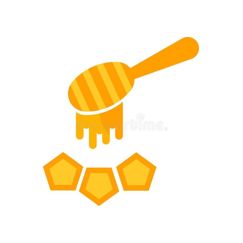 Segno e simbolo di vettore dell'icona del miele isolati su fondo bianco illustrazione vettoriale