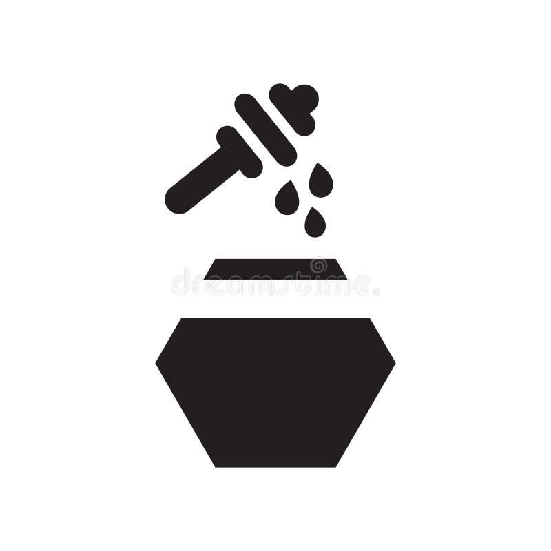 Segno e simbolo di vettore dell'icona del miele isolati su fondo bianco, concetto di logo del miele illustrazione vettoriale