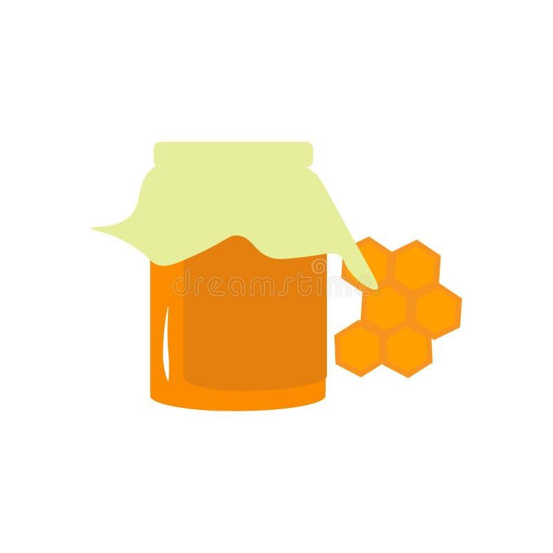 Segno e simbolo di vettore dell'icona del miele isolati su fondo bianco, concetto di logo del miele illustrazione di stock