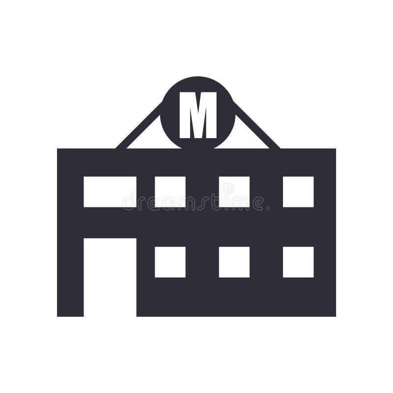 Segno e simbolo di vettore dell'icona del motel isolati su fondo bianco, concetto di logo del motel illustrazione di stock