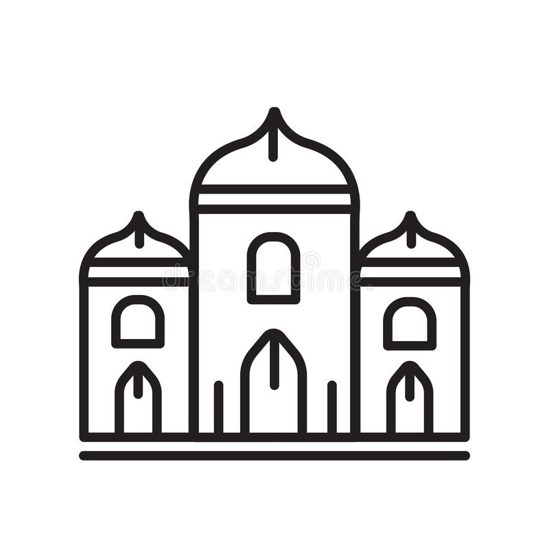 Segno e simbolo di vettore dell'icona del palazzo isolati su fondo bianco illustrazione vettoriale