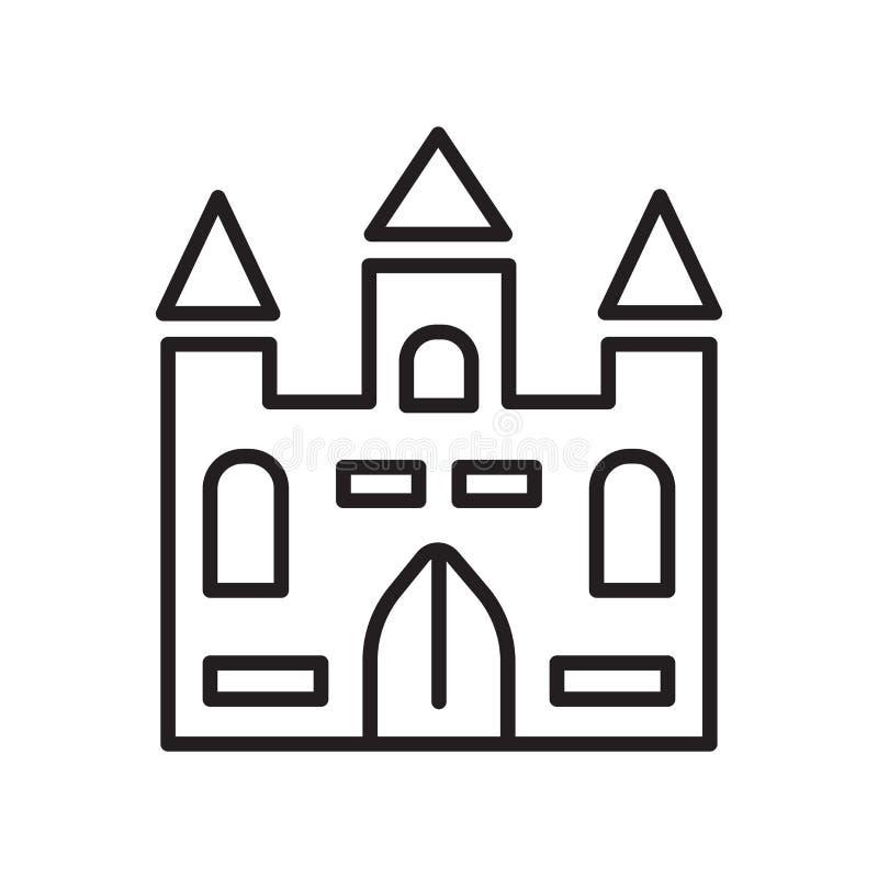 Segno e simbolo di vettore dell'icona del palazzo isolati su fondo bianco illustrazione di stock