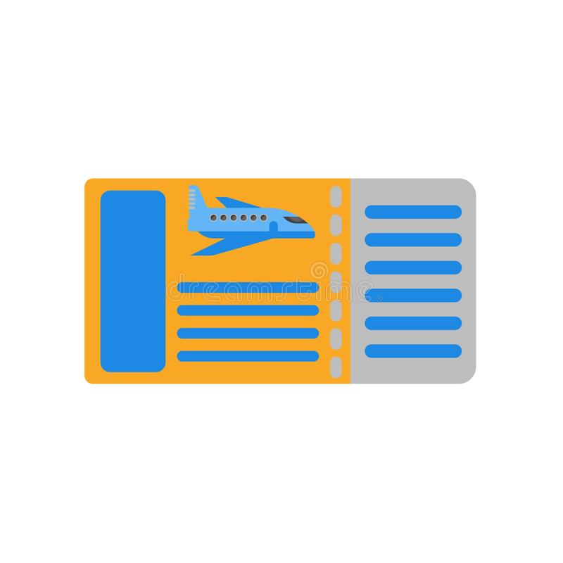 Segno e simbolo di vettore dell'icona del passaggio di imbarco isolati sulla parte posteriore di bianco illustrazione vettoriale