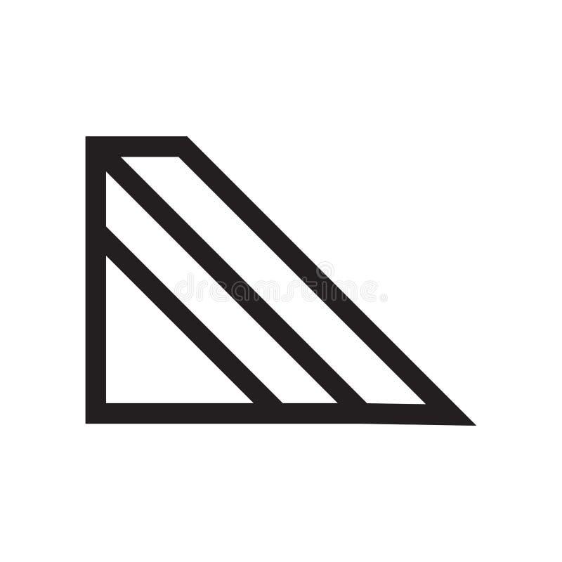 Segno e simbolo di vettore dell'icona del profilo del prisma triangolare isolati su fondo bianco, concetto di logo del profilo de illustrazione di stock