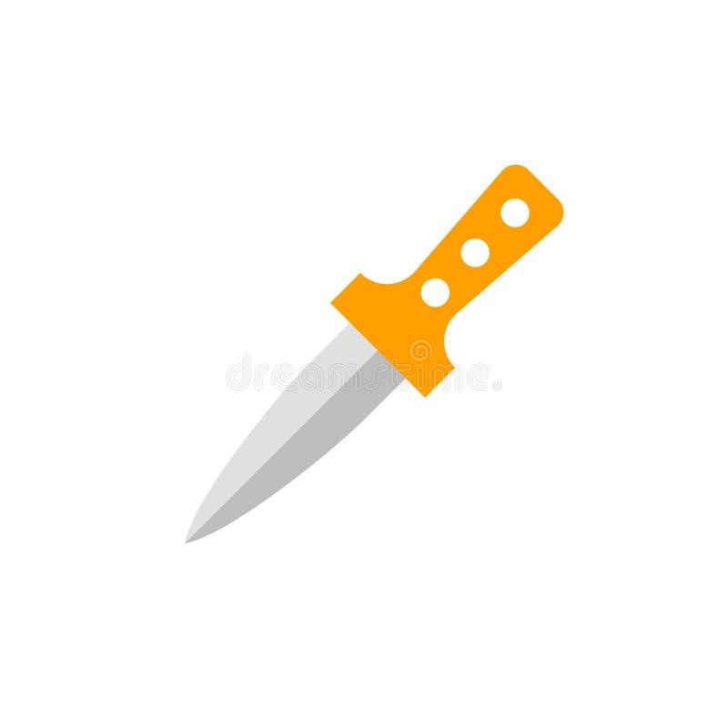 Segno e simbolo di vettore dell'icona del pugnale isolati su fondo bianco, concetto di logo del pugnale illustrazione vettoriale