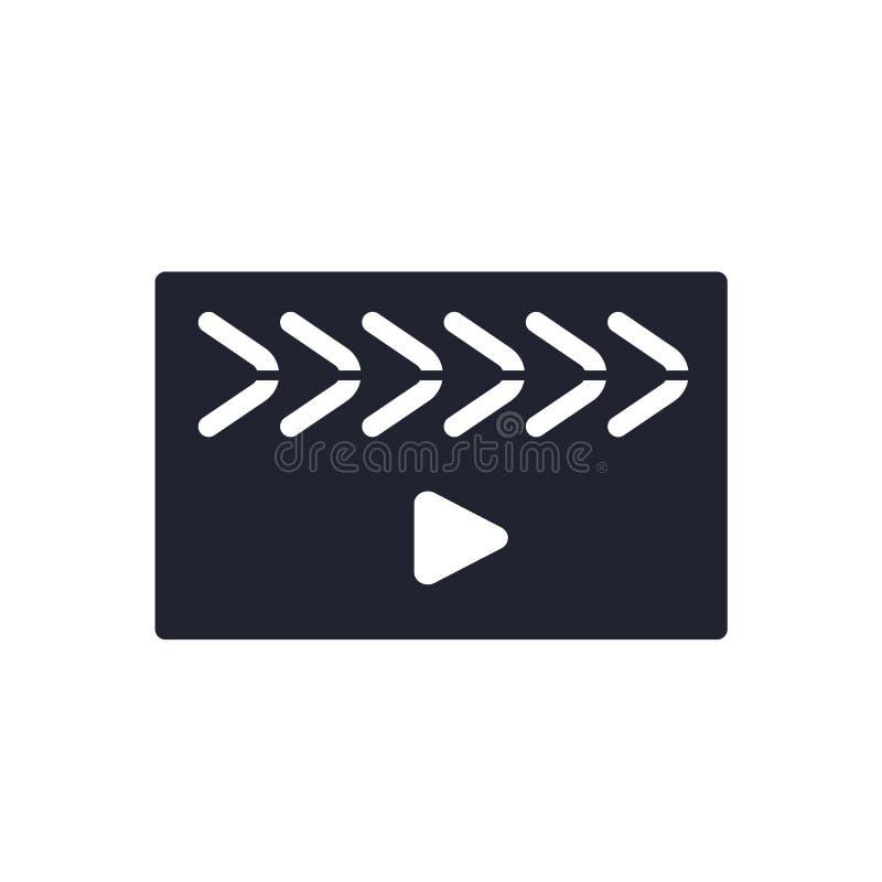 Segno e simbolo di vettore dell'icona del riproduttore video isolati su fondo bianco, concetto di logo del riproduttore video illustrazione vettoriale