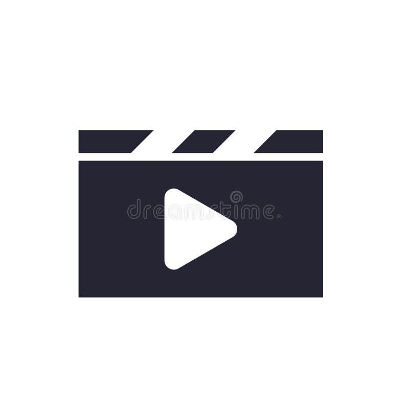 Segno e simbolo di vettore dell'icona del riproduttore video isolati su fondo bianco, concetto di logo del riproduttore video illustrazione di stock