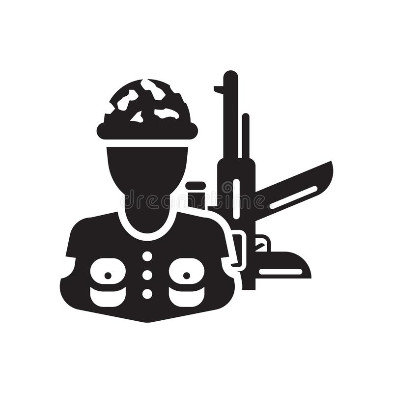 Segno e simbolo di vettore dell'icona del soldato isolati su fondo bianco illustrazione vettoriale