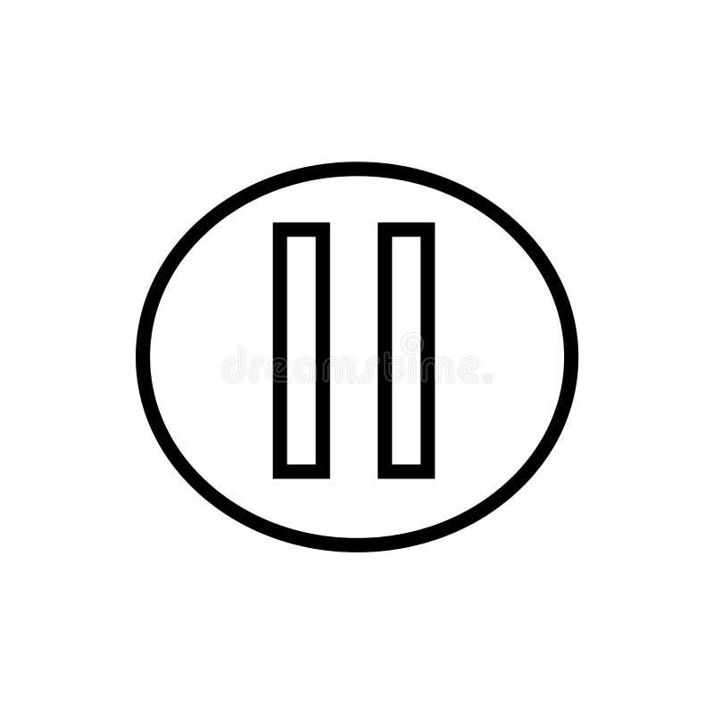 Segno e simbolo di vettore dell'icona del tasto pausa isolati su fondo bianco, concetto di logo del tasto pausa royalty illustrazione gratis