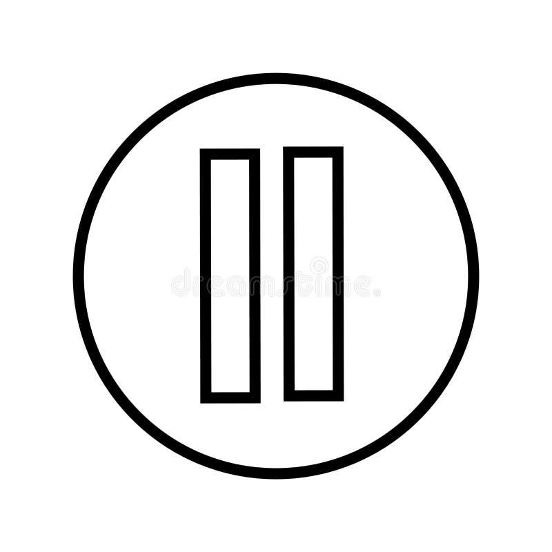 Segno e simbolo di vettore dell'icona del tasto pausa isolati su fondo bianco, concetto di logo del tasto pausa illustrazione vettoriale