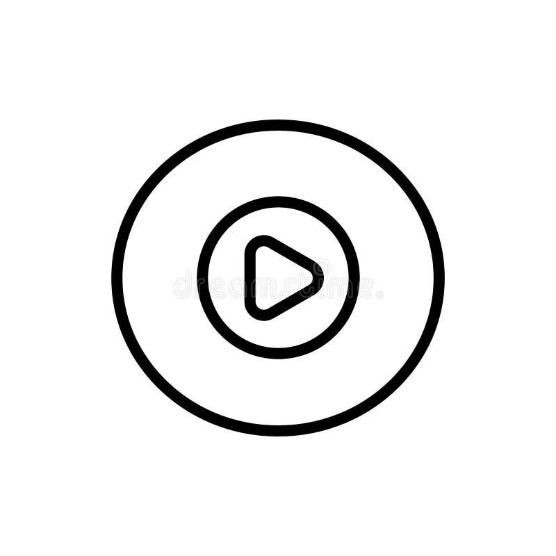 Segno e simbolo di vettore dell'icona del tasto di riproduzione della stampa isolati su fondo bianco, concetto di logo del tasto  royalty illustrazione gratis