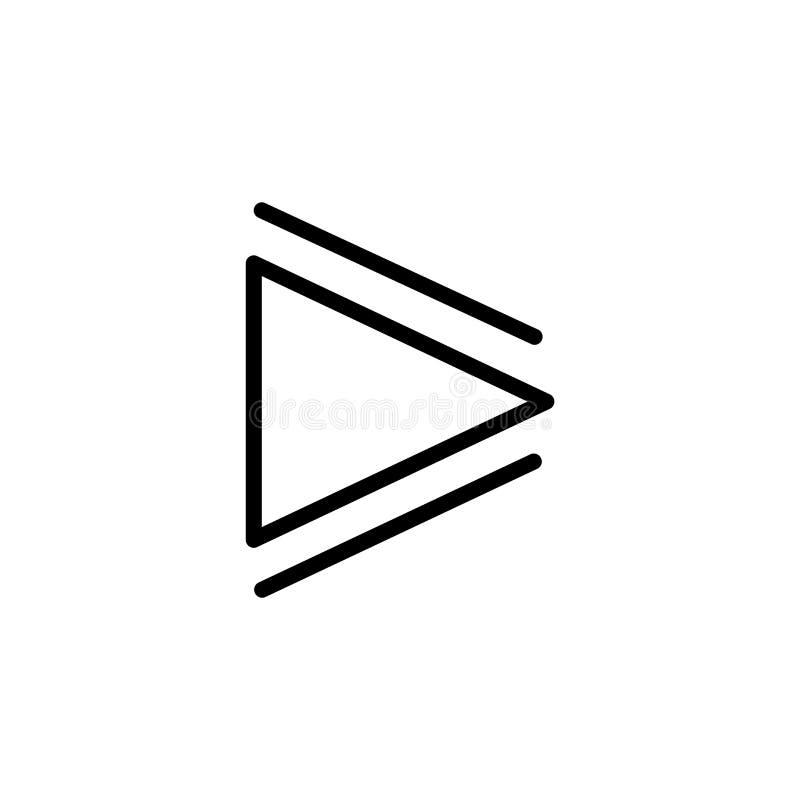 Segno e simbolo di vettore dell'icona del tasto di riproduzione isolati su fondo bianco, concetto di logo del tasto di riproduzio illustrazione vettoriale
