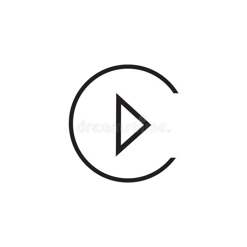 Segno e simbolo di vettore dell'icona del tasto di riproduzione isolati su fondo bianco, concetto di logo del tasto di riproduzio illustrazione di stock