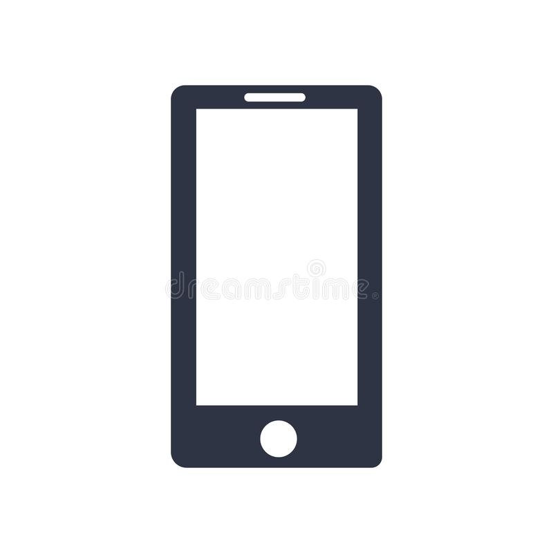 Segno e simbolo di vettore dell'icona del telefono cellulare isolati su fondo bianco, concetto di logo del telefono cellulare illustrazione vettoriale