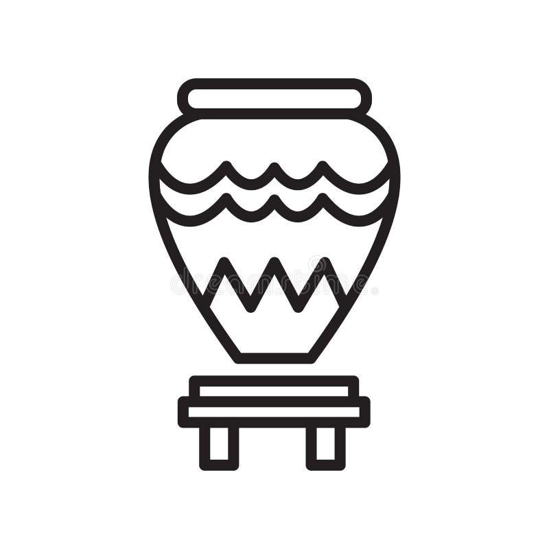 Segno e simbolo di vettore dell'icona del vaso isolati su fondo bianco, V illustrazione vettoriale
