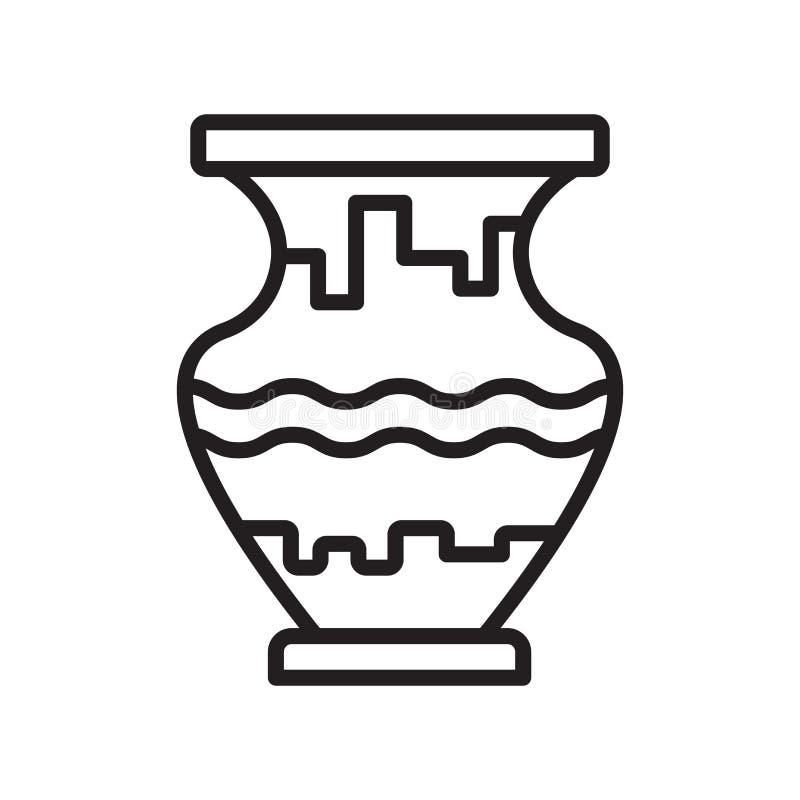 Segno e simbolo di vettore dell'icona del vaso isolati su fondo bianco, V illustrazione di stock