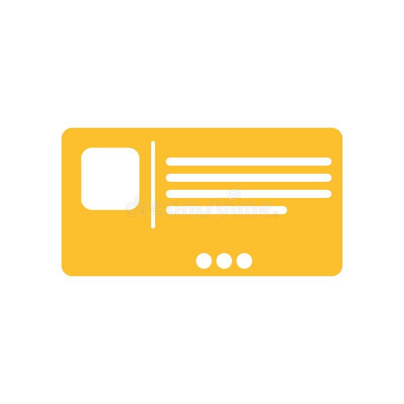 Segno e simbolo di vettore dell'icona della cartolina isolati su fondo bianco, concetto di logo della cartolina illustrazione vettoriale