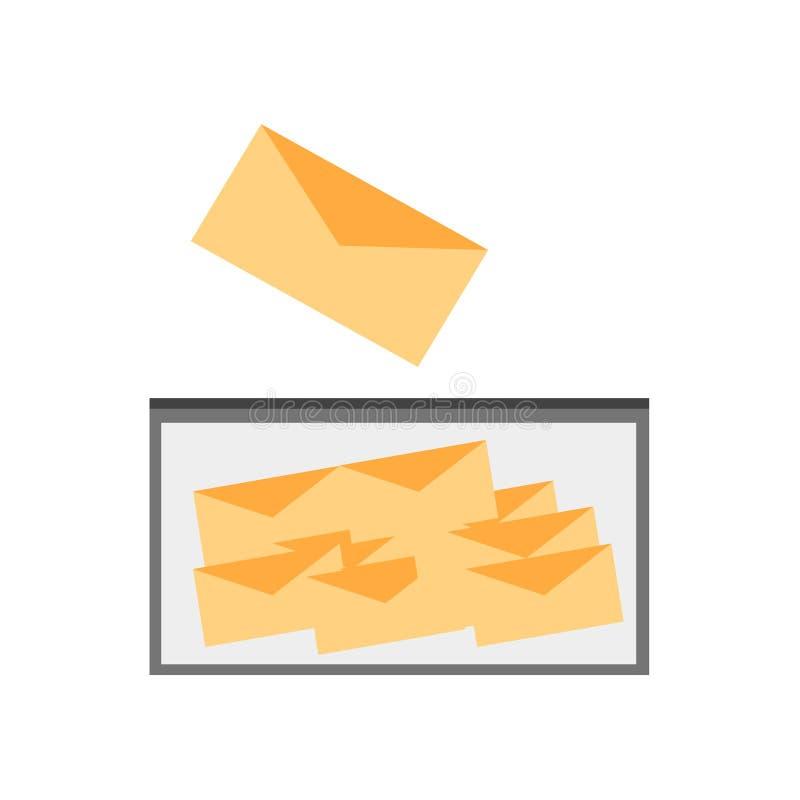 Segno e simbolo di vettore dell'icona della cassetta delle lettere isolati su fondo bianco royalty illustrazione gratis