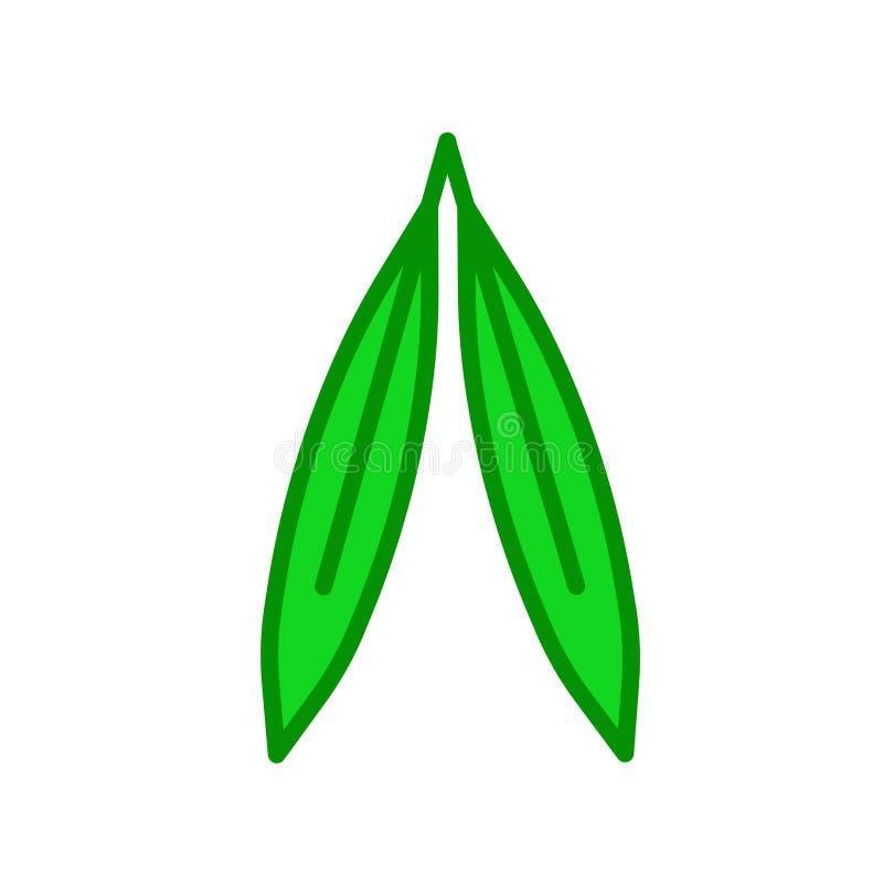 Segno e simbolo di vettore dell'icona della foglia del salice isolati su backgr bianco illustrazione di stock