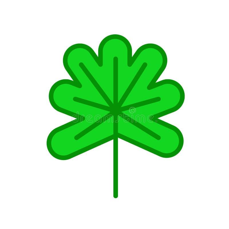 Segno e simbolo di vettore dell'icona della foglia della quercia isolati su backgroun bianco illustrazione di stock