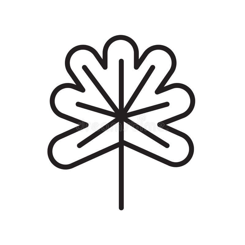 Segno e simbolo di vettore dell'icona della foglia della quercia isolati su backgroun bianco royalty illustrazione gratis