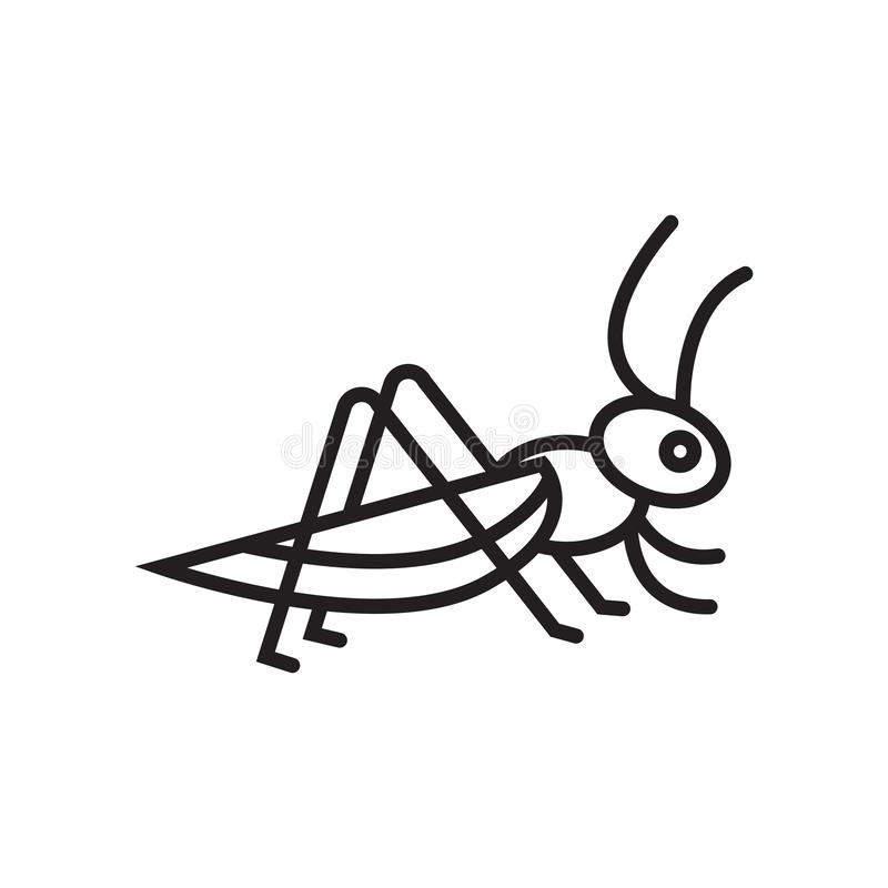 Segno e simbolo di vettore dell'icona della locusta isolati su fondo bianco illustrazione vettoriale