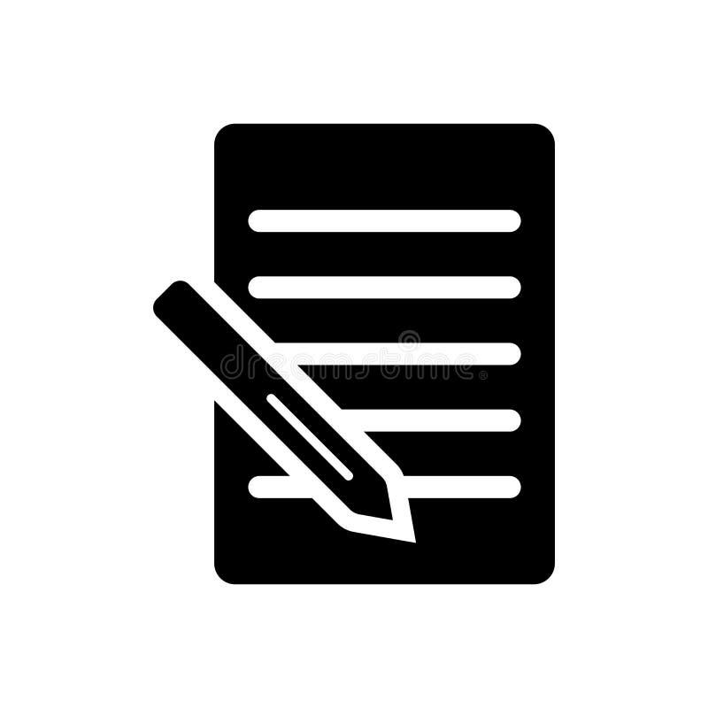 Segno e simbolo di vettore dell'icona della nota isolati su fondo bianco, concetto di logo della nota illustrazione di stock