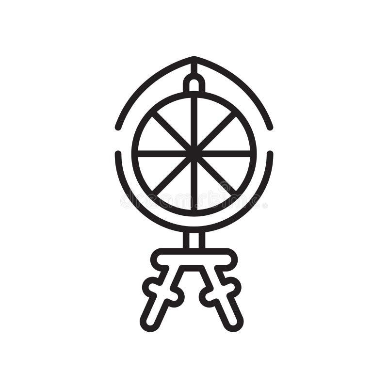 Segno e simbolo di vettore dell'icona della ruota di filatura isolati sul BAC bianco royalty illustrazione gratis
