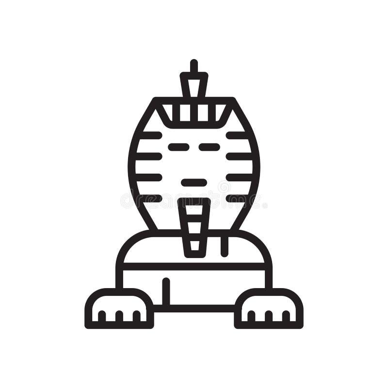 Segno e simbolo di vettore dell'icona della Sfinge isolati su fondo bianco illustrazione di stock