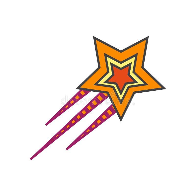 Segno e simbolo di vettore dell'icona della stella cadente isolati su fondo bianco, concetto di logo della stella cadente illustrazione vettoriale