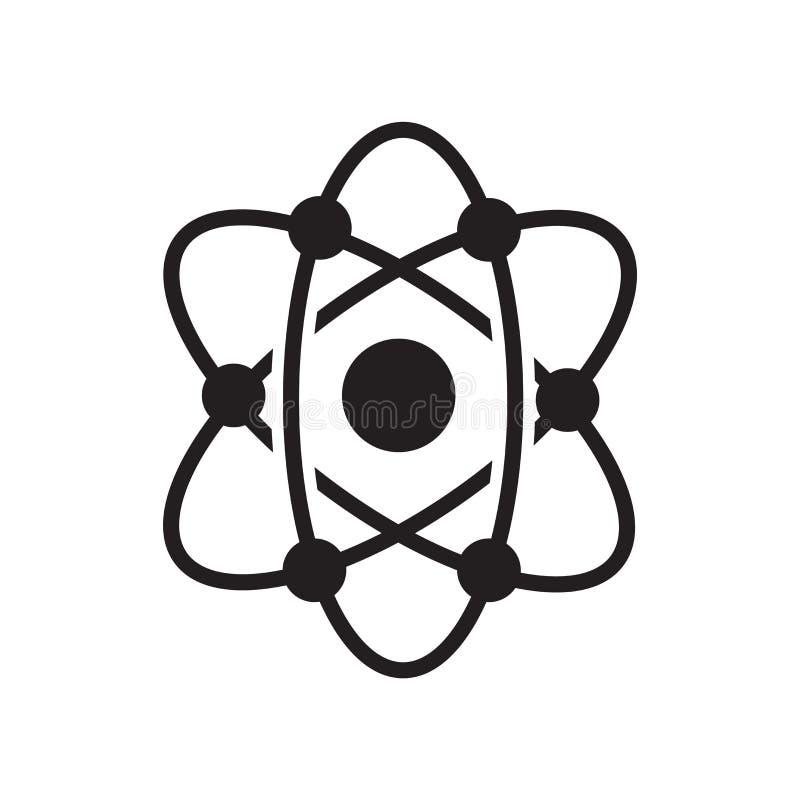 Segno e simbolo di vettore dell'icona della struttura atomica isolati sulla b bianca illustrazione di stock