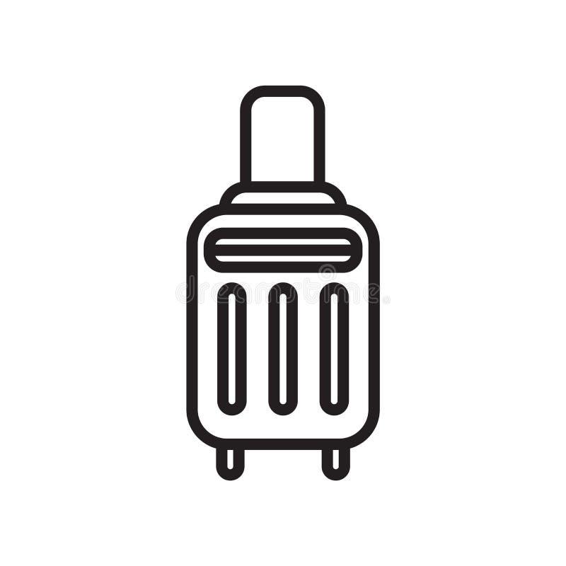 Segno e simbolo di vettore dell'icona della valigia isolati su fondo bianco, concetto di logo della valigia royalty illustrazione gratis