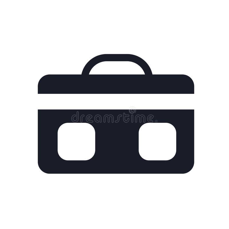 Segno e simbolo di vettore dell'icona della valigia isolati su fondo bianco, concetto di logo della valigia illustrazione vettoriale