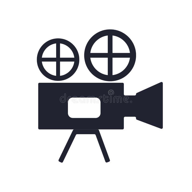 Segno e simbolo di vettore dell'icona della videocamera isolati su fondo bianco, concetto di logo della videocamera illustrazione di stock
