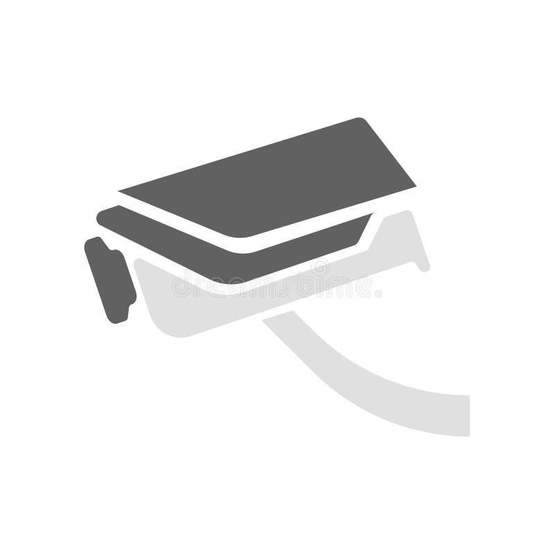 Segno e simbolo di vettore dell'icona della videocamera di sicurezza isolati su fondo bianco, concetto di logo della videocamera  illustrazione di stock