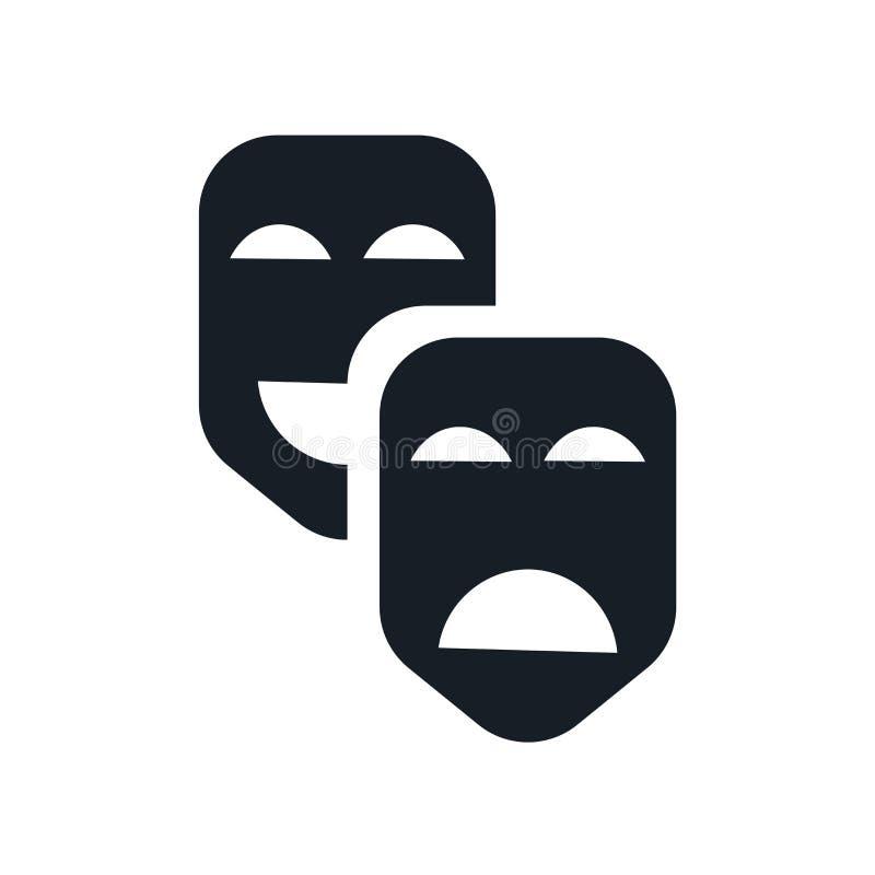 Segno e simbolo di vettore dell'icona delle maschere di carnevale isolati su fondo bianco, concetto di logo delle maschere di car illustrazione di stock