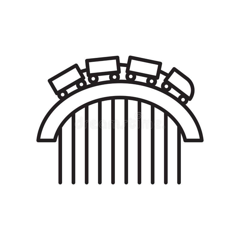 Segno e simbolo di vettore dell'icona delle montagne russe isolati su fondo bianco, concetto di logo delle montagne russe illustrazione di stock