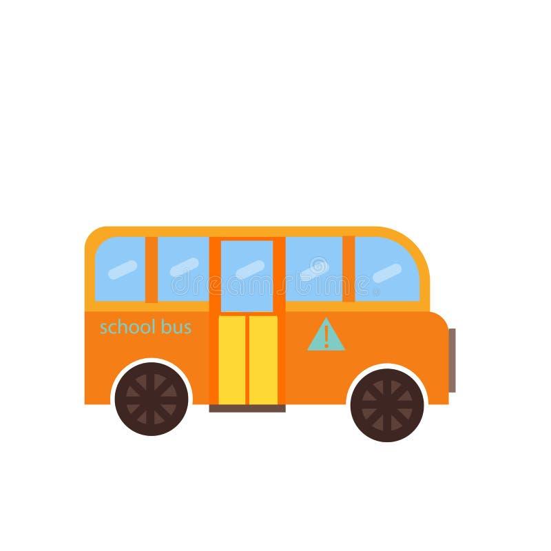 Segno e simbolo di vettore dell'icona dello scuolabus isolati su fondo bianco, concetto di logo dello scuolabus illustrazione di stock