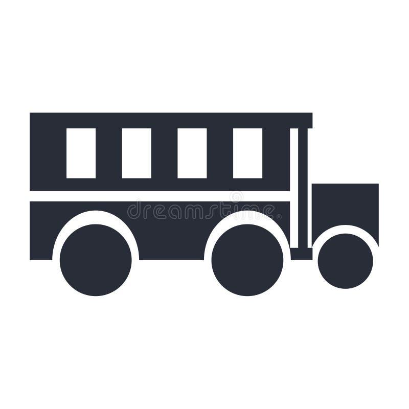 Segno e simbolo di vettore dell'icona dello scuolabus isolati su fondo bianco, concetto di logo dello scuolabus illustrazione vettoriale