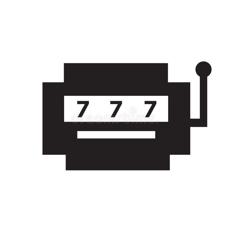 Segno e simbolo di vettore dell'icona dello slot machine isolati su fondo bianco, concetto di logo dello slot machine illustrazione vettoriale