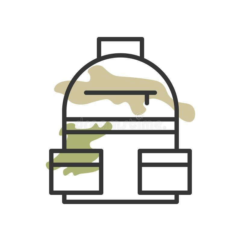 Segno e simbolo di vettore dell'icona dello zaino isolati su fondo bianco, concetto di logo dello zaino illustrazione vettoriale